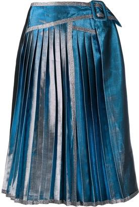 Marco De Vincenzo Metallic Pleated Skirt