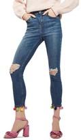 Topshop Women's Jamie Pompom Skinny Jeans