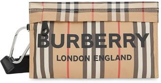 Burberry Logo Print Icon Stripe Nylon Zip Pouch