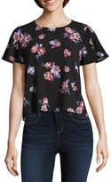REWIND Rewind Short Sleeve Crew Neck Floral T-Shirt-Womens Juniors