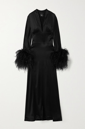 Taller Marmo Elvira Feather-trimmed Silk-blend Satin Maxi Dress - Black