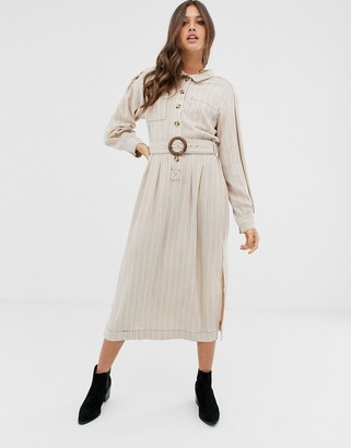 Free People Audrey linen blend stripe midi shirt dress-Cream