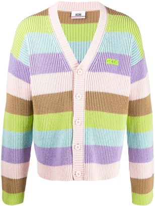GCDS Striped Ribbed-Knit Cardigan