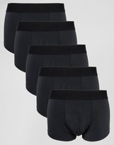 Asos Hipster 5 Pack In Black Microfibre