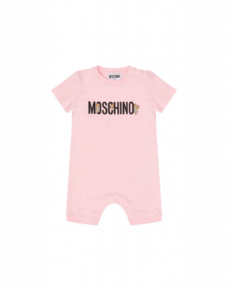 Moschino Teddy Logo Short Playsuit Unisex Pink Size 1/3m