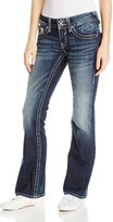 Vigoss Junior's Chelsea Heavy Stitch Bootcut Jean with Floral Embellished Double V Back Pocket