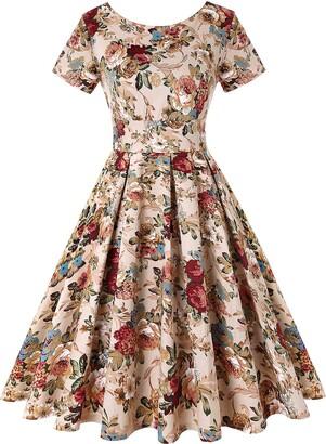 Mintlimit Women's 1950s Retro Vintage A-Line Short Sleeves Cocktail Swing Party Dress (Floral Khaki Size XXL)