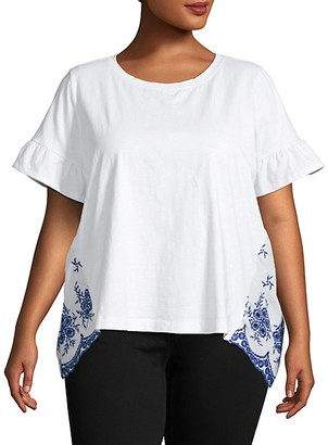 Single Thread Plus Embroidered-Back Stretch Cotton T-Shirt
