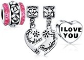 Bling Jewelry Set of Three and Silver Grandmother Granddaughter Heart Shaped Rose Charm Bead .925 Sterling Silver