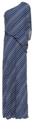 Halston One-shoulder Draped Striped Crepe De Chine Gown