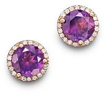 Bloomingdale's Amethyst and Diamond Halo Stud Earrings in 14K Rose Gold - 100% Exclusive