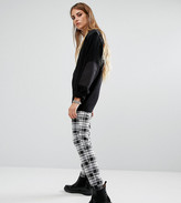 Reclaimed Vintage Fitted Pants In Black And White Check With Raw Hem