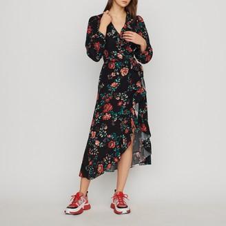 Maje Long printed wrap dress