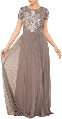 Betsy & Adam Sequin Mesh A-Line Gown
