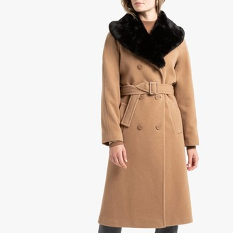Anne Weyburn Wool Mix Double-Breasted Coat with Faux Fur Collar and Pockets