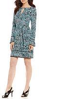 MICHAEL Michael Kors Big Cat Border Print Matte Jersey A-Line Dress