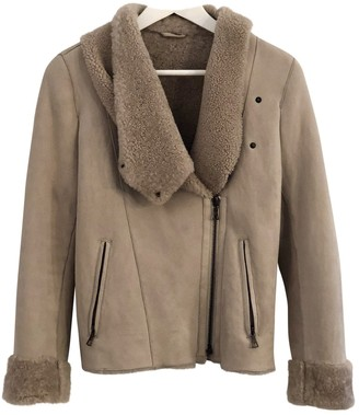 Meteo Beige Leather Jacket for Women