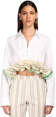 Rosie Assoulin Cotton Poplin Shirt W/ Ruffled Straw Hem