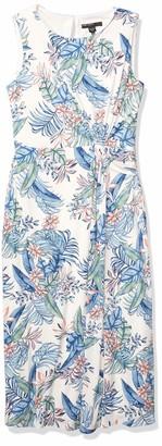 Maggy London Women's Hawaiian Punch Floral Jersey Fit Midi Sheath