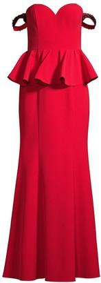 Aidan Mattox Off-The-Shoulder Peplum Evening Gown