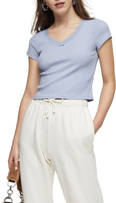 Topshop Pretty Lace Ribbed Crop Top