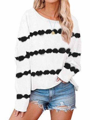 Sexy Dance Women Casual Long Sleeve Tops Round Neck Striped Print T-Shirt Loose Pullover Blouse XL Pink