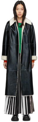 Stand Studio Black and White Faux-Leather Nino Coat
