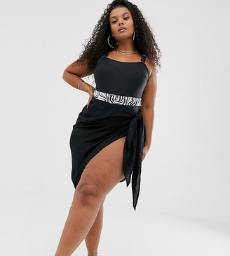 South Beach Curve Exclusive beach wrap skirt in black