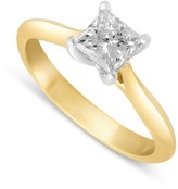 Aurora 18ct gold 0.70 carat princess cut diamond solitaire ring