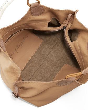 Henry Beguelin Lara Large Cervo Leather Hobo Bag, Sand