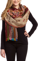 Paparazzi Burgundy & Green Floral Embroidered Wool Shawl