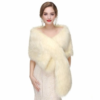 Apxakaly Women's Bride Wedding Faux Fur Shawls and Wraps (Free Brooch) Fur Scarf Stole Fur Cape for Winter Wedding/Evening Party/Bridal/Bridesmaids - Grey