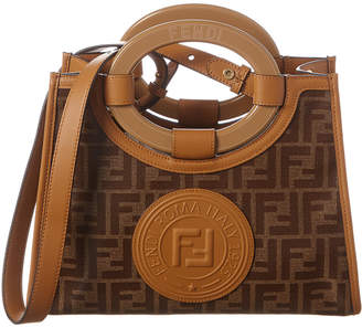 Fendi Runaway Small Canvas & Leather Shopper Tote