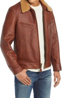 Schott NYC Leather Moto Jacket with Genuine Shearling Trim