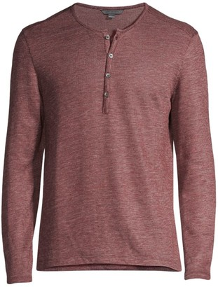 John Varvatos Brushed Linen-Blend Henley