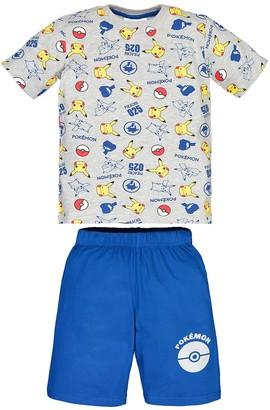 Pokemon Pikachu Print Short Pyjamas in Cotton Mix, 8-14 Years