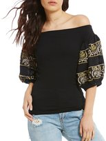 Free People Knit Rock With It Embroidered Off-the-Shoulder Top