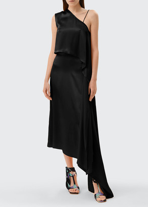 MATÉRIEL One-Shoulder Silk Cocktail Dress w/ Waist Tie