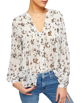 7 For All Mankind Pintuck Floral V-Neck Top