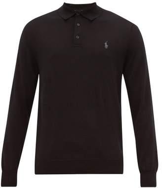 Polo Ralph Lauren Logo-embroidered Merino-wool Polo Shirt - Mens - Black