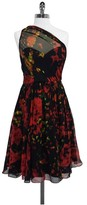 Tracy Reese MultiColor Print Silk One Shoulder Dress