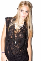 Sauce Soba Drape Lace Top in Black