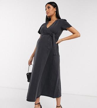 Asos DESIGN Maternity denim wrap midi dress in black