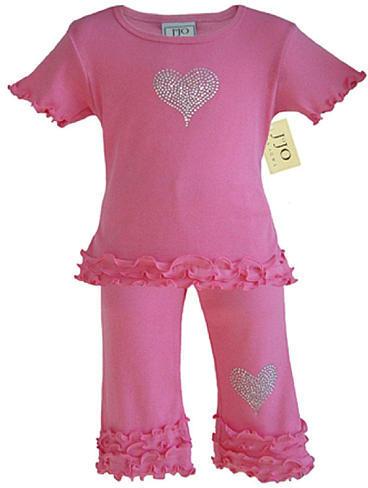 JoJo Designs Sweet Girls 2 Piece Crystal Heart Capri Outfit (12 Months)