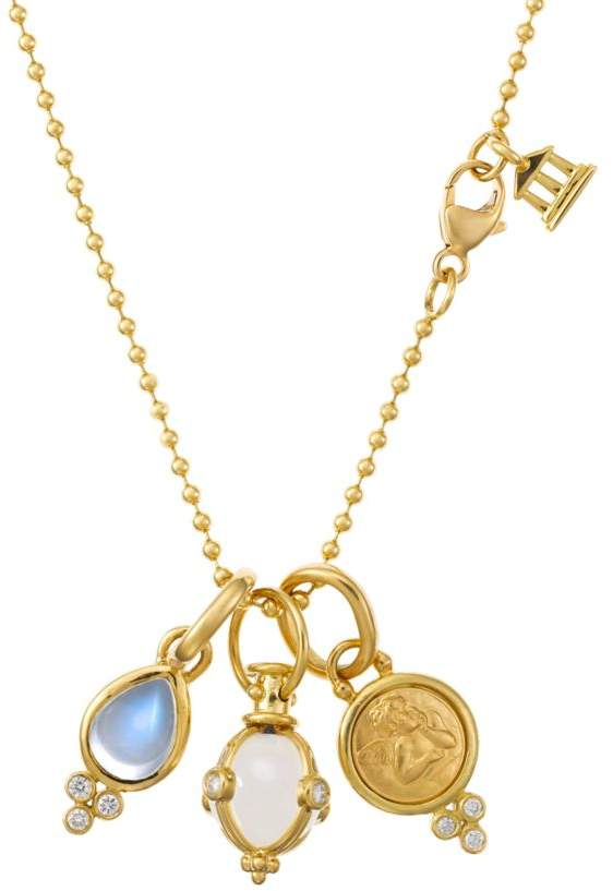 Temple St. Clair Rock Crystal, Moonstone, Diamond & 18K Yellow Gold Charm Necklace