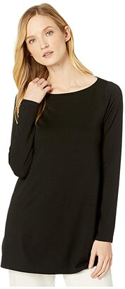 Eileen Fisher Fine Tencel Jersey Bateau Neck Tunic (Black) Women's Clothing