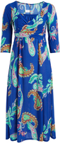 Glam Turquoise & Teal Paisley Tie Maxi Dress - Plus
