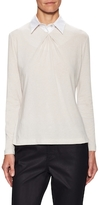 Lafayette 148 New York Gathered Front Point Collar Shirt