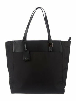 Tumi Leather-Trimmed Nylon Tote Black