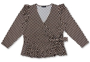 INC International Concepts Inc Plus Size Printed Puff-Sleeve Surplice Top, Created for Macy's